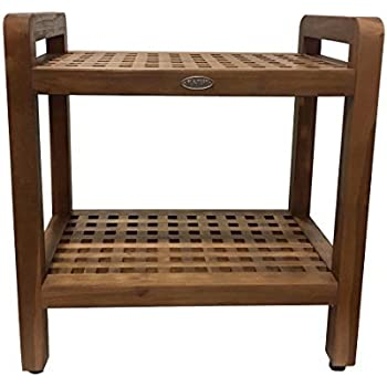 Amazon.com: Ala Teak Ergonomic Stool Bench With Shelf and LiftAide ...