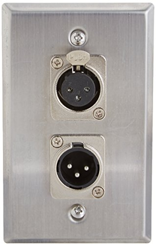 Seismic Audio SA-PLATE32 Stainless Steel Wall Plate XLR Male and Female Connector for Cable Installation ()