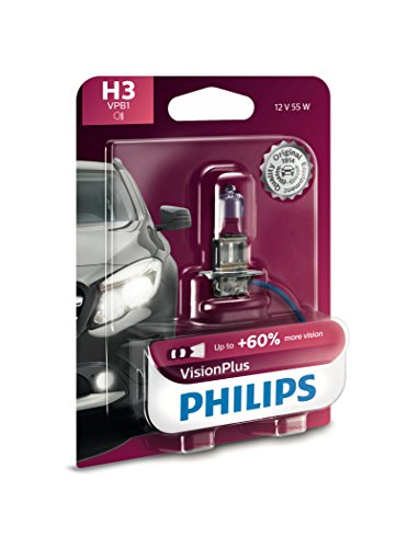 Philips H3 VisionPlus Upgrade Headlight Bulb with up to 60% More Vision, 1 Pack