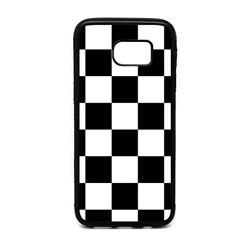 Samsung S7 Edge Case, Black White Checkered Pattern Black Soft Rubber TPU Bumper Case, Customized Galaxy S7 Edge Racing Flag Design Case (Black Checkered Pattern)
