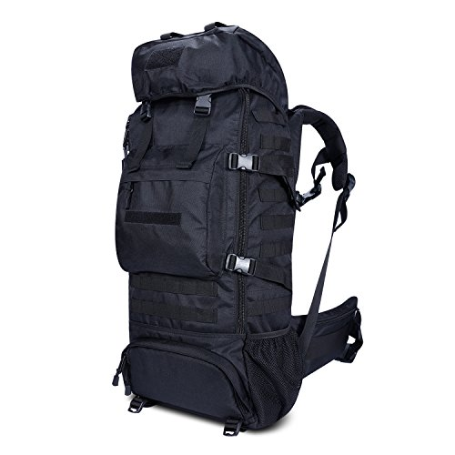 Gonex Tactical Military Molle Backpack 70L, Oxford Waterproof Hiking Camping Backpack 900D Internal-frame Travel Sports Bag Black