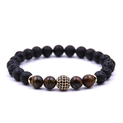 Joya Gift Lava Rock Stone Essential Oil Diffuser Yoga Bracelet with Gold CZ Ball for Women Men
