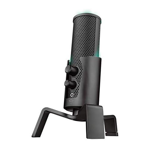 chollos oferta descuentos barato Trust GXT 258 Fyru Micrófono USB con 4 Patrones de Grabación Cardioide Bidireccional Estéreo y Omnidireccional Latencia Cero LED 5 Colores