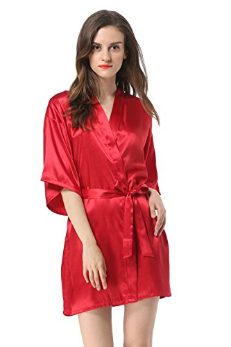 Women's Satin Plain Short Kimono Robe Bathrobe, Medium, Wine Red]()