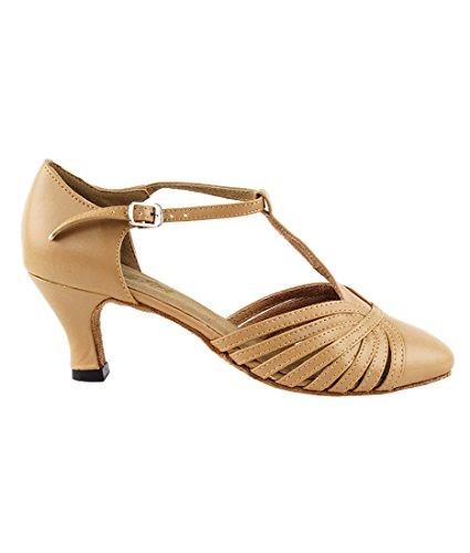 Très Belle Salle De Bal Latine Tango Chaussures De Danse De Salsa Pour Les Femmes 6829 2,5 Talon + Pli Chaussure Brosse Bundle Cuir Marron Beige