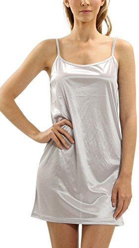 Women Basic Silky Satin Camisole Chemise Full Slip Nightgown Sleepwear- Under Sheer Sweaters, Dresses, Tunics (Silver, Medium)