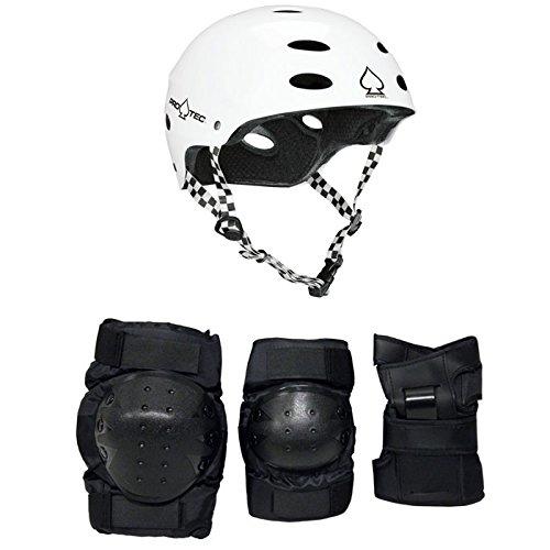 Ace Gloss - PRO TEC Skateboard Helmet ACE Gloss White Sz LARGE Elbow/Knee/Wrist Pad Combo