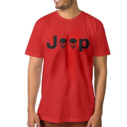 PTCYM Jeep Logo With Creative Skull Symbol Customize Men's Tees S Red (Lego Skull Truck)