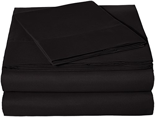 Twin Pack Blk - AmazonBasics Microfiber Bed Sheet Set - Twin, Black