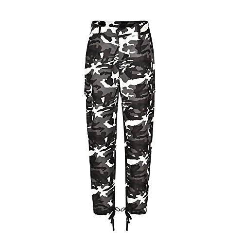 CMrtew ❤️ Womens Fashion New Cotton Blend Camouflage Pants Camo Casual Cargo Joggers Trousers Hip Hop Rock Trousers (White, M) by CMrtew_Women Pants