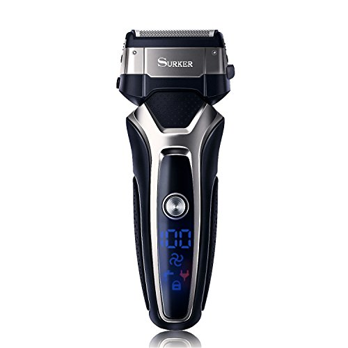 SURKER Shaver Professional Men's Electric Razor Foil Shaver Waterproof Rechargeable and Cordless Wet and Dry Electric Razor for Men with Razor (Dry Rechargeable Electric Shaver)