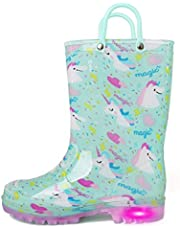 K KomForme Kids Rain Boots, Waterproof Light up Boots with Easy-on Handles,Magic Unicorn,Toddler 10