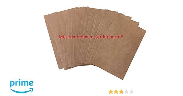 50 unidades pequeñas bolsas marrones bolsas papel kraft en papel 13 x 18 + 2 cm (lengüeta) Papel de bolsa de plano como del paquete para obsequios Give de ...