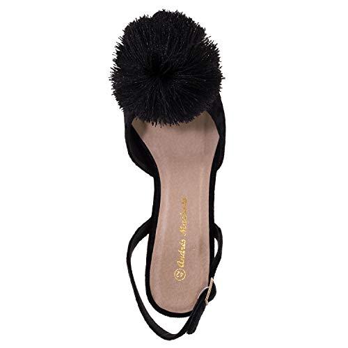 32 Mujer 35 45 Negro Salón Velvet Para Andres am5288 Y Pequeñas Grandes 42 tallas Machado Pompón AYwUqP