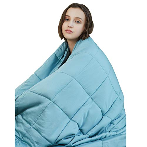 YnM Cooling Weighted Blanket, 100% Natural Bamboo Viscose, 15 lbs 60x 80, Luxury Heavy Blanket, Sea Grass.