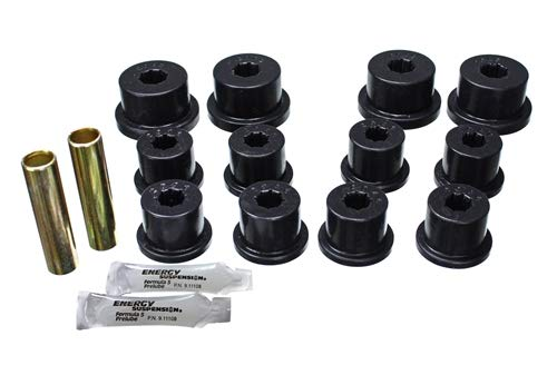 (Energy Suspension 1.2101G Leaf Spring Bushing Set; Black; Front/Rear; For Shackles; Performance Polyurethane; (1))