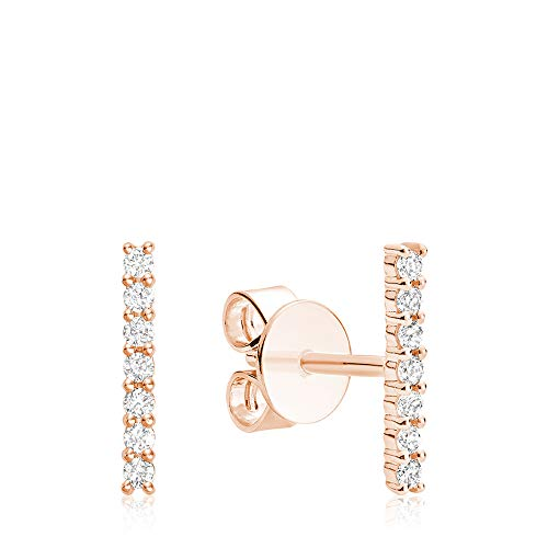 Jewels By Erika E-10BAR10R 10K Diamond Bar Earrings - Rose Gold