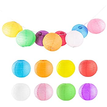 12 Colorful Assorted Chinese Japanese Hanging Paper Lanterns Metal Frame For Party Home