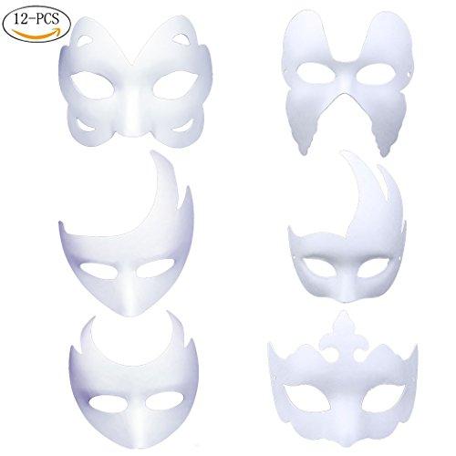 Tobenone DIY White Masks, 12Pcs Masquerade Paper Mask Half Face (Halloween Scary Face Paint Design)