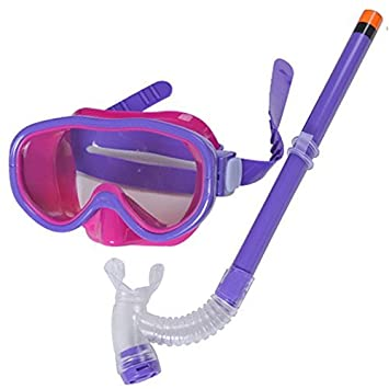 310490f1432 Swimming Studying Goggles Diving Mask Snorkel Set Purple (For Age 3 ...
