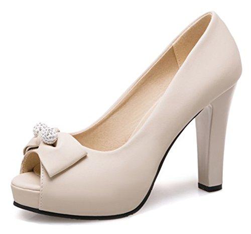 Aisun Donna Carino Bordato Basso Taglio Grosso Tacco Alto Dressy Slip On Platform Peep Toe Pumps Scarpe Con Archi Beige