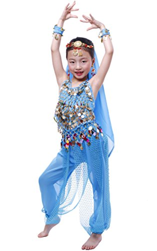 Astage Girls Arabian Princess Costume Belly Dancing Dress Halloween Carnival Set Sky Blue -