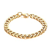 Vnox Mens Stainless Steel Chunky Cuban Link Chain Bracelet,Gold,21.5cm