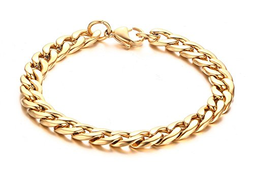 Vnox Mens Stainless Steel Curb Chain Bracelet,Gold Plated,21.5 cm