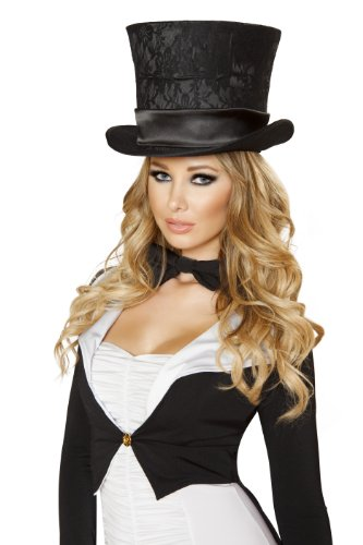 Roma Costume Women's Deluxe Top Hat, Black, One Size