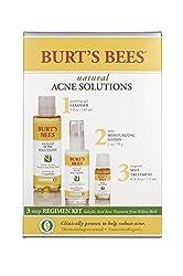 Burt's Bees Natural Acne Solutions Regimen Kit, 3 Step Acne Treatment - Gel Cleanser, Daily Moisturizer & Targeted Spot Treatment