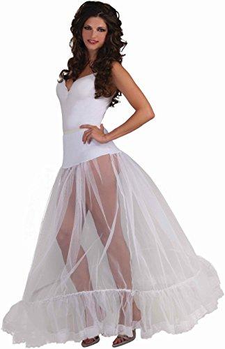 Adult's Sexy Ballroom Length Long White Crinoline Slip Petticoat Underskirt (Forum Lace Costume)