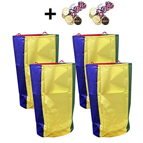 DGQ Potato Sack Race Bags 20''x27.5'' (Pack of 4) with Game Prizes (Pack of 12) for Kids