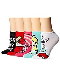 Disney Alice in Wonderland 5 Pack No Show Socks