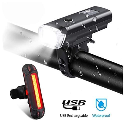 Fine Mountain Bike Lights for Night Riding,600 Lumens Bike Headlight LED,USB Rechargeable Bicycle Headlight & Rear Light Set for Road Commuting,Front & Back Bike Light Flashing Light (Black)