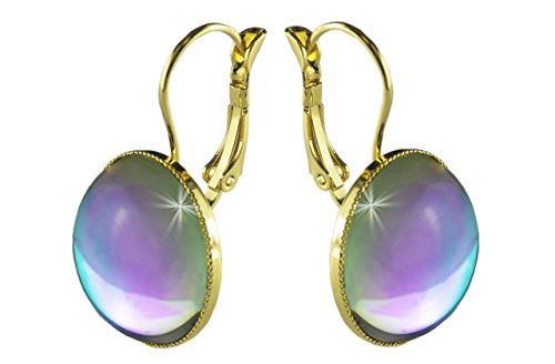 24K Gold Plated Lever Earrings 18mm Crystal Light Dichroic Vitrail Rainbow Purple Blue Round Czech Glass Stone Handmade BohemStyle ()
