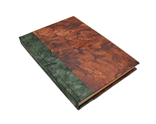 Nepali Eco Writing Journal with Vintage Handmade Lokta Paper, Clean-cut, Made in the Himalayas of Nepal, 6x9 Inches (Forest Bliss, Standard)