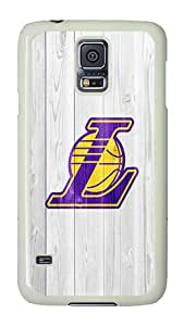 Samsung Galaxy S5 Case, Galaxy S5 Cover - Rugged Plastic Lakers Logo PC Plastic Hard Shell Case Snap On Back Cover for Samsung Galaxy S5 I9600 White