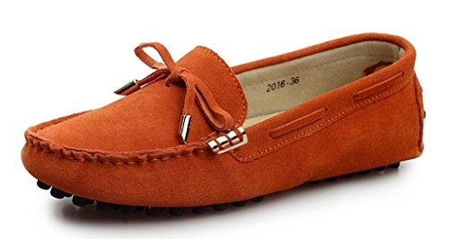 ylw2016ju39 Women's Fashion Classical Tie Upper Suede Leather Loafers Moccasins Driving Shoes Orange US 7.5