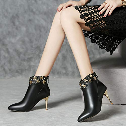 Amazon.com: Hy Womens Fashion Boots, Leather Fall/Winte Fashion Boots, Ladies Pointed Stiletto Heel Booties/Ankle Boots,Flower Rivet Shoes, Party & Evening ...