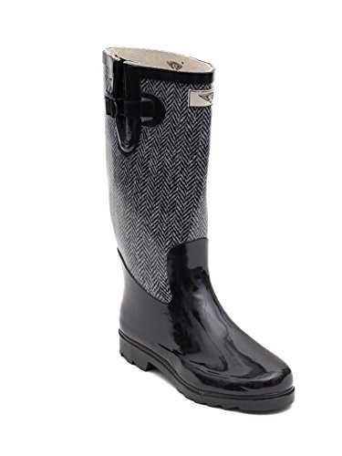 Forever Young Women Rain Boots, Water Resistant, Chevron Jacket,10 by Forever Young