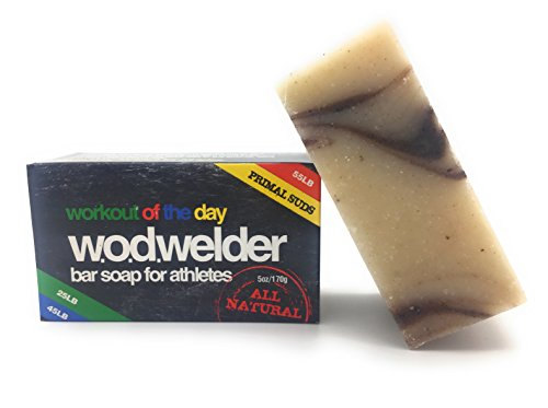 w.o.d welder All Natural Body Workout Soap - 3 Pack - Essential Coconut, Avocado, Olive, Peppermint & Eucalyptus Oils, Shea Butter, Great Fragrance - Antibacterial Cleansing Exfoliating Bars
