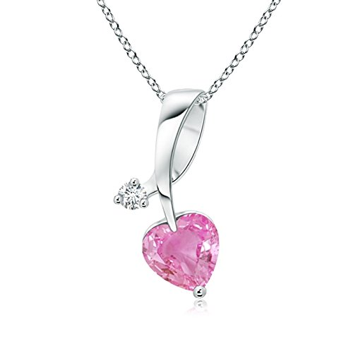 - Heart-Shaped Pink Sapphire Ribbon Pendant with Diamond in 14K White Gold (5mm Pink Sapphire)