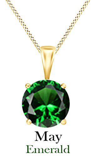 Jewel Zone US Simulated Emerald Round Shape Pendant Necklace in 10k Solid Yellow Gold (1 cttw) ()