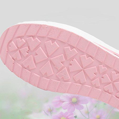 WYSBAOSHU Frauen Woven Schuhe Leichter Elastischer Trainer Beleg auf Sportschuh Rosa