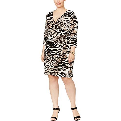 Animal Print Surplice Dress - INC Womens Plus 3/4 Sleeves Animal Print Mini Dress Beige 3X