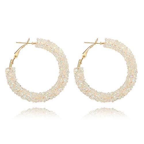 Glitter Hoop Earrings Bohemian Sparkle Shiny Rhinestone Wrapped Hoop Dangle Earrings for Women Girls