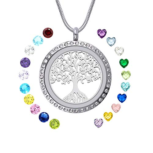 - WIGERLON Family Tree of Living Memory Lockets Stainless Steel Necklace Pendant with Birthstones Gifts for Your Love