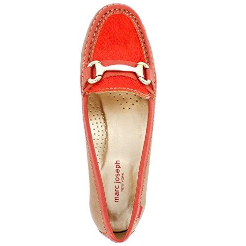 Frauen Echtes Leder Made In Brasilien Grand Street Schnalle Loafer Marc Joseph NY Mode Schuhe Tan Orange