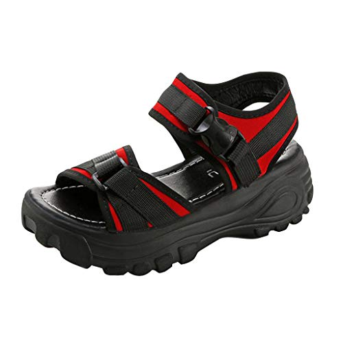 New Summer Platform Sandals for Women, Huazi2 Girls Thick Soled Slopes Magic Casual Roman Sports Sandals Red]()