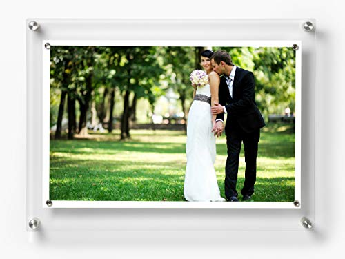 Wexel Art 14x19-Inch Rectango Magnetic Single Panel Framing Grade Acrylic Floating Frame with Silver Hardware for 11x17-Inch Art & Photos ()